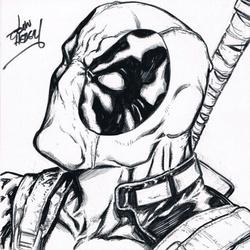 Deadpool - BW Drawing