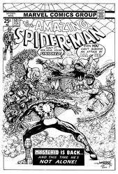 The Amazing Spider-Man 141: Cover Recreation - BW Drawing