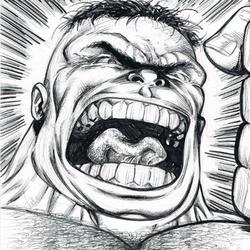 Hulk - BW Drawing