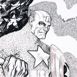 Captain America - BW Drawing